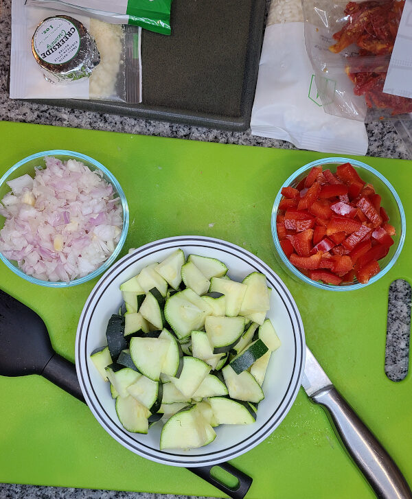 Shallots, Zucchini, and Peppers chopped