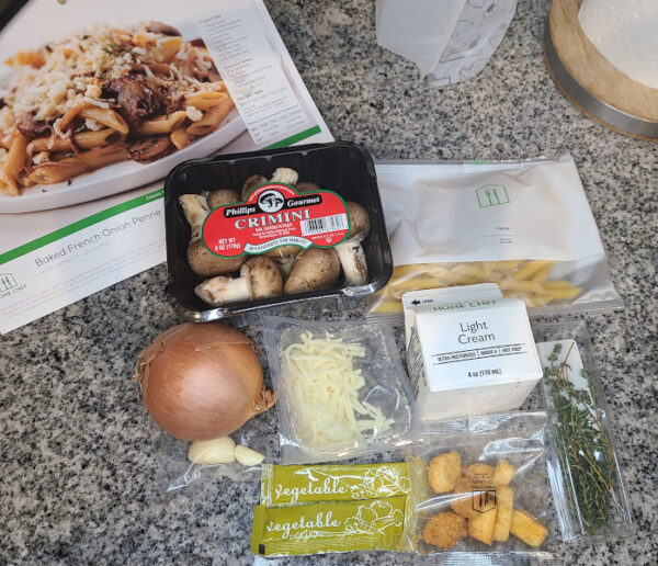 Baked French Onion Penne ingredients