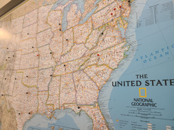 Push Pin Travel Maps View of US East Coast