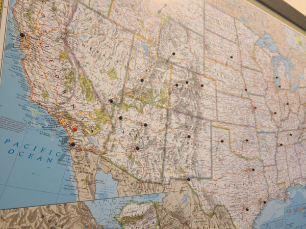 Push Pin Travel Maps View of US West Coast