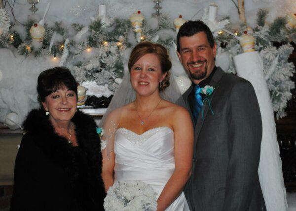 Lora, Matt, and Lora's Mom on Grecobon Wedding Day 12/13/14