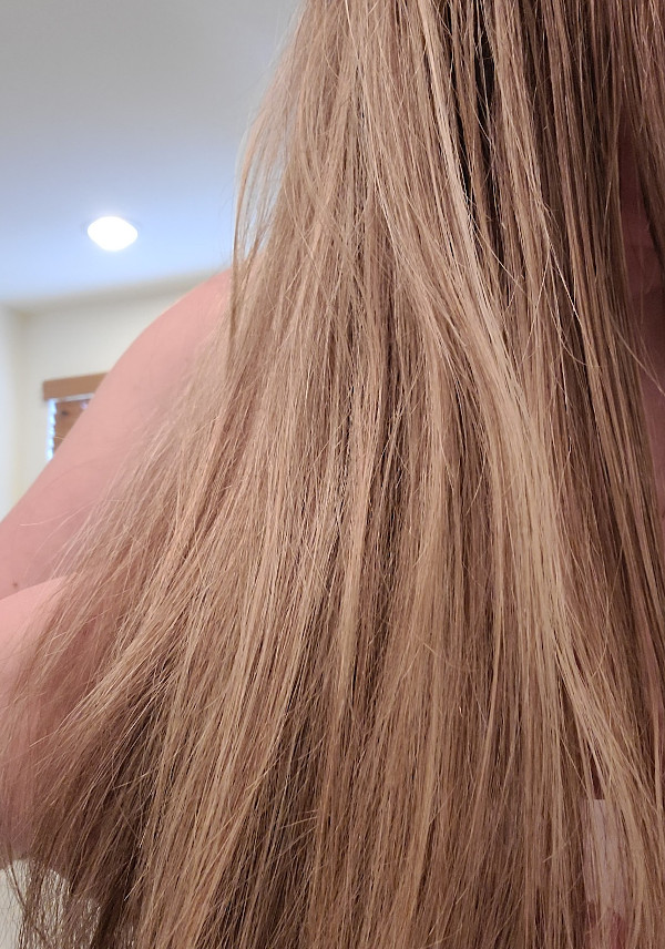 Light brown, highlighted hair before coloring