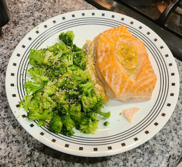 Costco STuffed Salmon with Broccoli