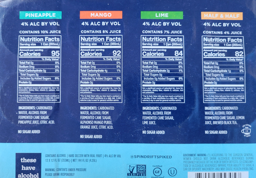 Spindrift Spiked Nutrition Facts